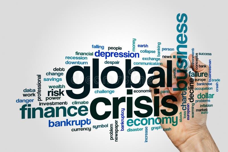 Nuvola globale di parola di crisi immagine stock libera da diritti
