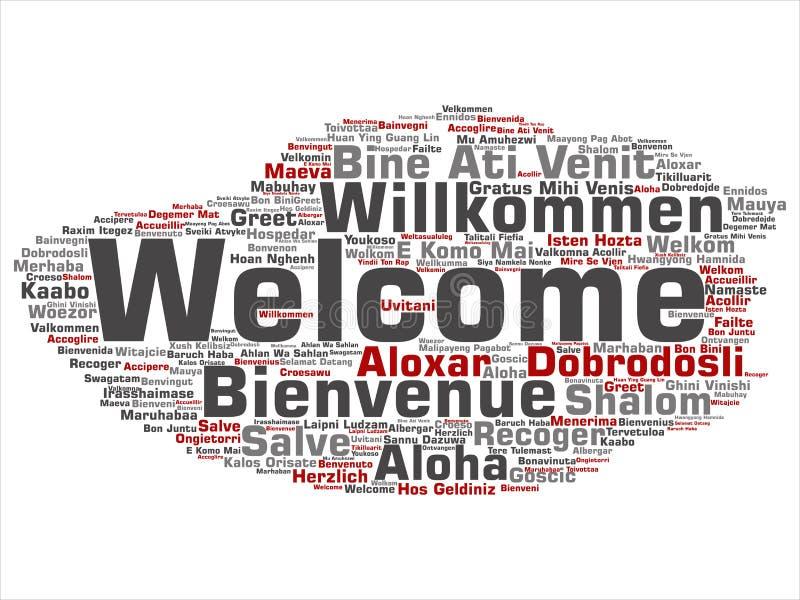 Nuvola internazionale di parola di saluto di benvenuto di vettore nelle lingue differenti royalty illustrazione gratis