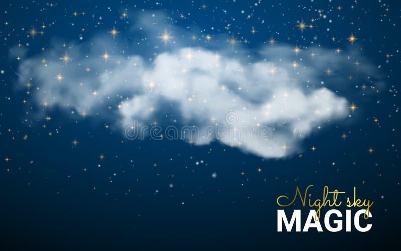 Nuvola magica di Natale Stelle brillanti Fondo astratto del cielo notturno Natale dell'illustrazione di vettore Polvere leggiadra royalty illustrazione gratis