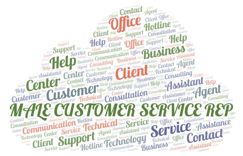 Nuvola maschio di parola del rappresentante di servizio di assistenza al cliente illustrazione vettoriale