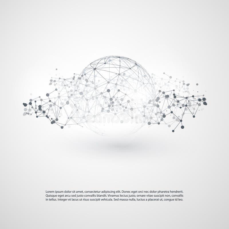 Nuvola minima moderna in bianco e nero che computa, struttura di reti, progettazione di massima di telecomunicazioni, connessioni illustrazione vettoriale