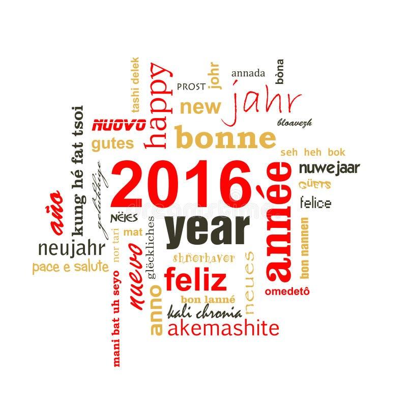 nuvola multilingue di parola del testo da 2016 nuovi anni royalty illustrazione gratis
