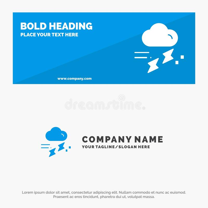 Nuvola, pioggia, insegna solida piovosa e di tuono di piovosità, dell'icona del sito Web ed affare Logo Template illustrazione di stock
