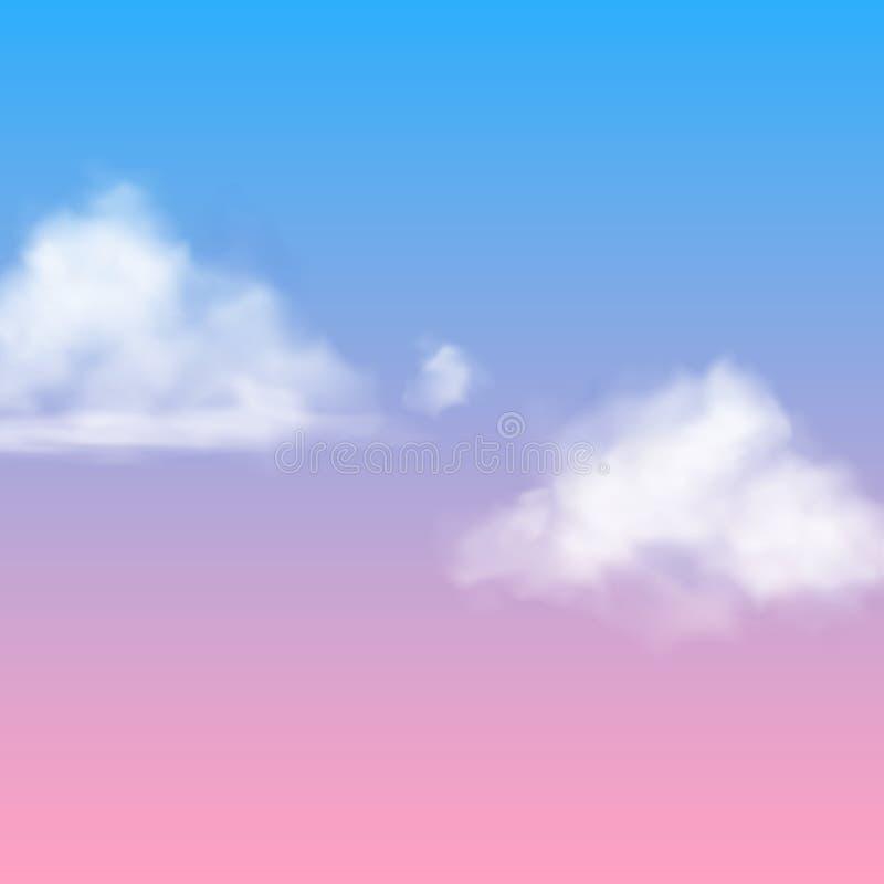 Nuvola realistica Appannamento lanuginoso della nebbia del cielo dei nubes bianchi isolato sull'aria rosa blu di vettore del fond royalty illustrazione gratis