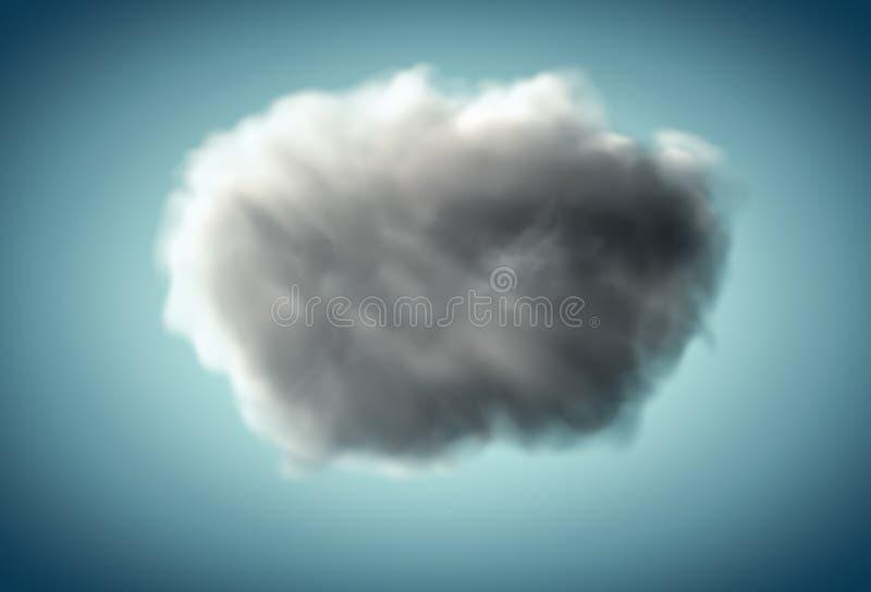 Nuvola realistica scura su fondo blu fotografie stock
