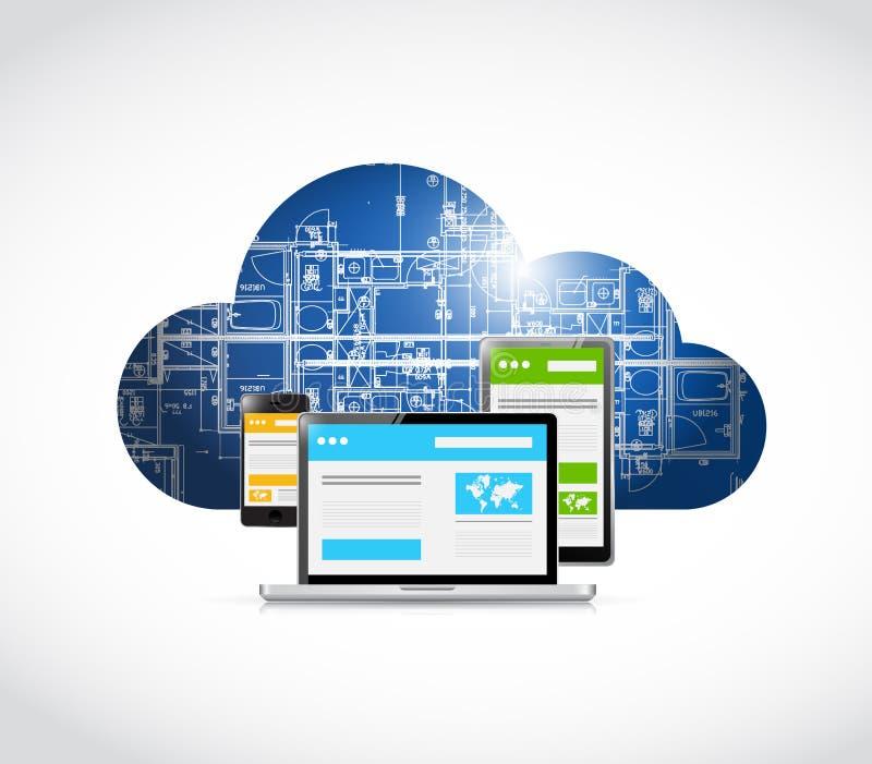 nuvola rispondente del modello di tecnologia di web illustrazione di stock