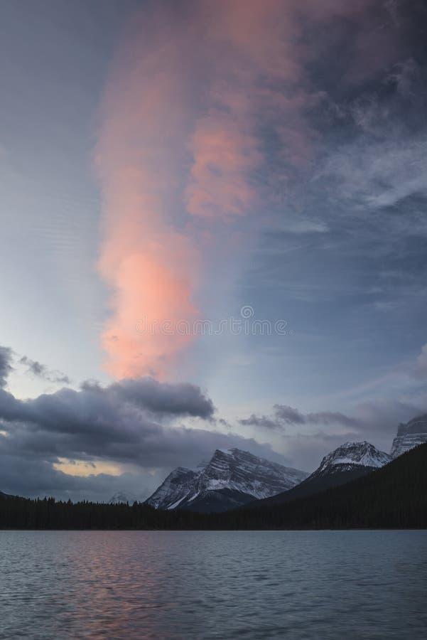 Nuvola rosa ad alba sopra parco nazionale dei laghi blu waterfowl, Banff, Canada fotografia stock libera da diritti