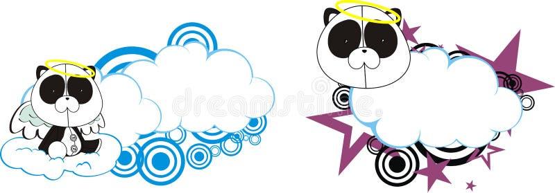 Nuvola sveglia del fumetto di angelo della peluche del bambino dell'orso di panda royalty illustrazione gratis