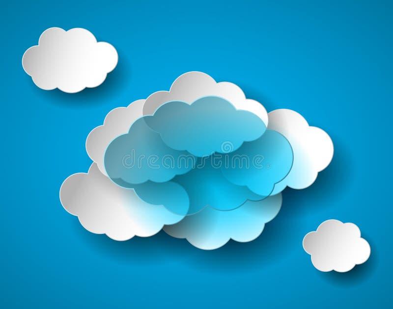 Nuvola trasparente realistica luminosa e nuvole bianche su cielo blu illustrazione di stock