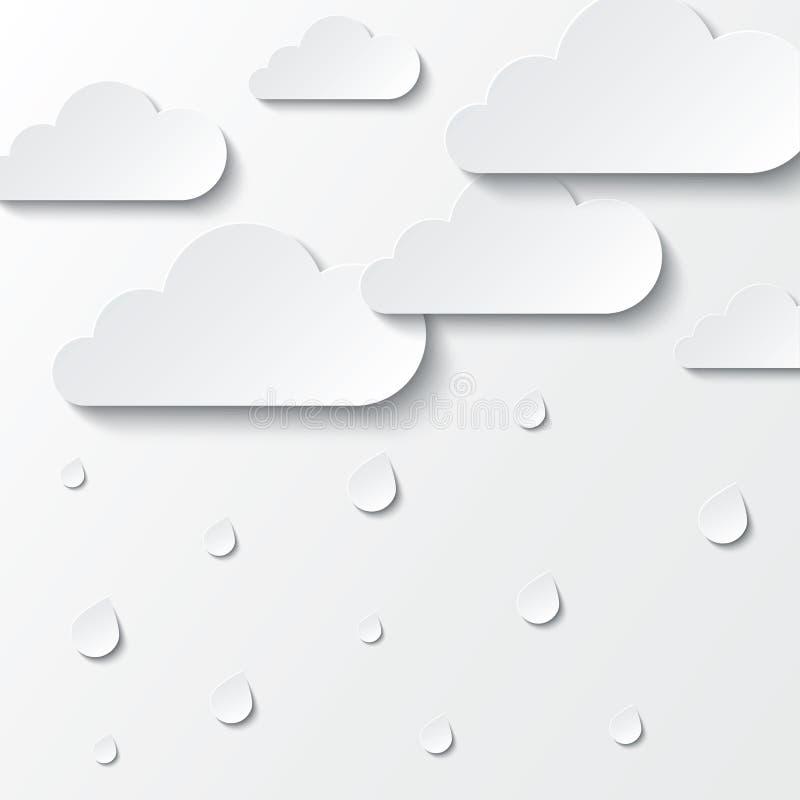 Nuvole bianche di carta su bianco. Cielo di carta. illustrazione di stock