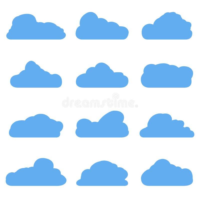 Nuvole blu del fumetto isolate su bianco royalty illustrazione gratis