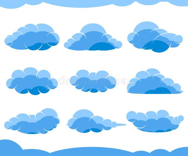 Nuvole blu del fumetto isolate su bianco illustrazione vettoriale