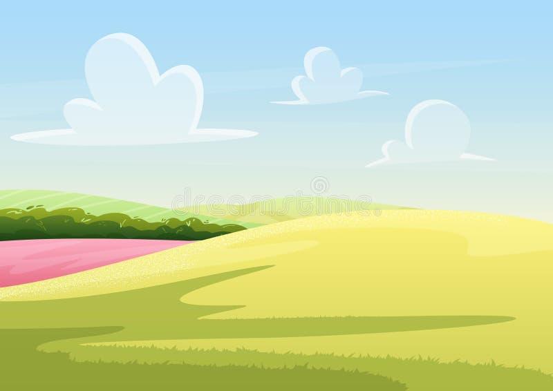 Nuvole che galleggiano sul cielo blu sopra il campo pacifico con il paesaggio dell'illustrazione di vettore dell'erba verde illustrazione vettoriale