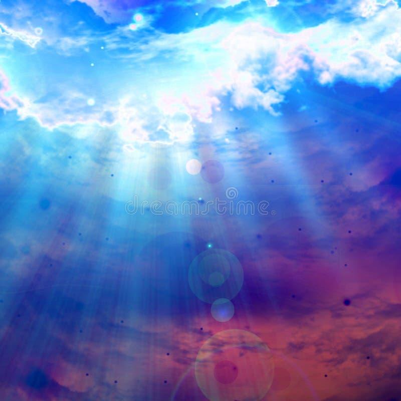 Nuvole con luce solare intensa illustrazione vettoriale