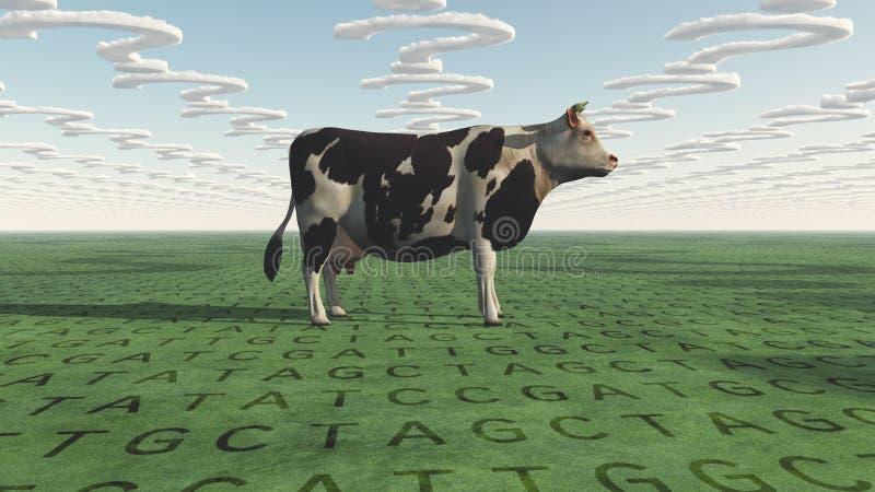 Nuvole di domande e della mucca e codice genetico su terra royalty illustrazione gratis