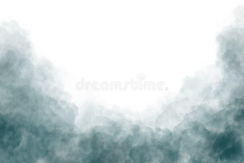 Nuvole di fumo scure isolate su fondo bianco illustrazione vettoriale