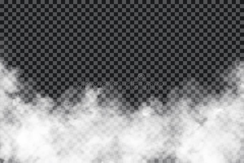 Nuvole di fumo su fondo trasparente Struttura realistica della foschia o della nebbia isolata su fondo Effetto trasparente del fu royalty illustrazione gratis