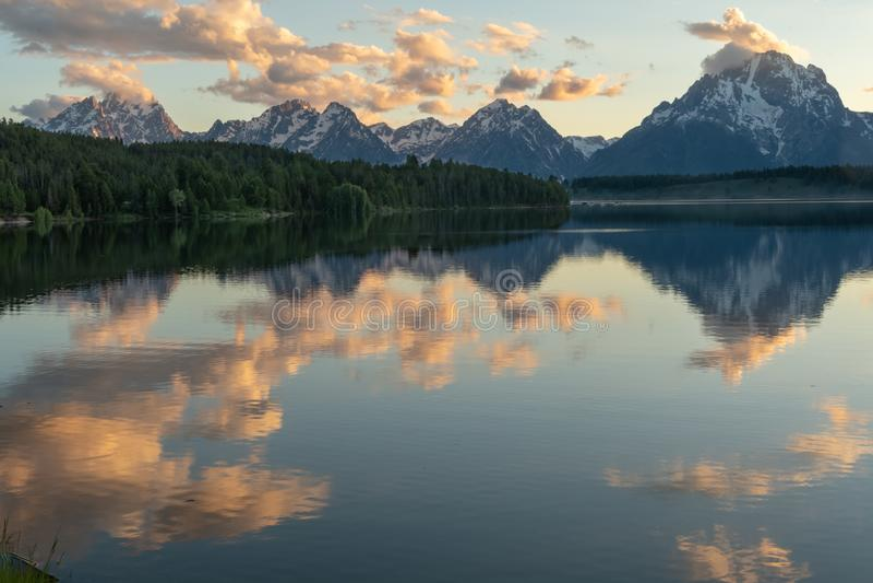 Nuvole di Jackson Lake Reflects con i pini e Tetons fotografia stock