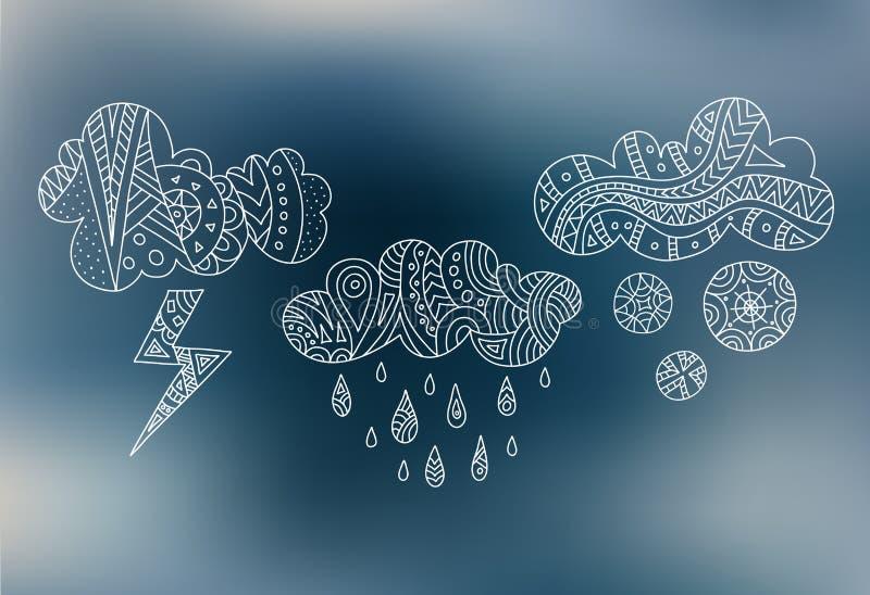 Nuvole di scarabocchio di vettore Il maltempo di simboli Pioggia, neve, fulmine illustrazione di stock