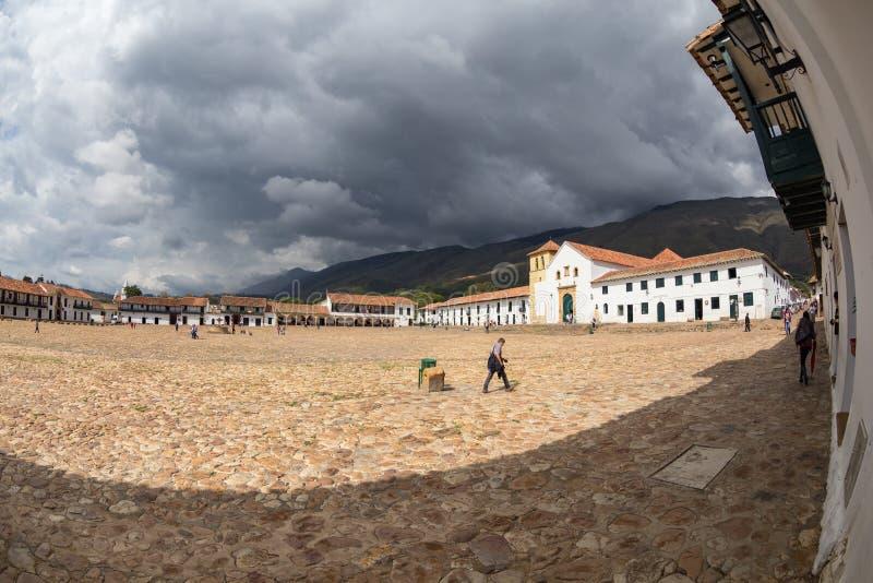 Nuvole di tempesta grige in Villa de Leyva fotografia stock