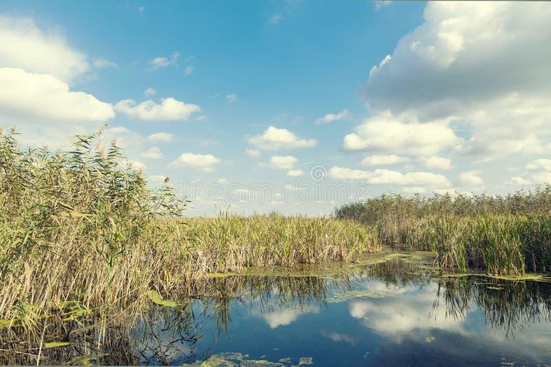 Nuvole e cielo sopra il lago fotografia stock