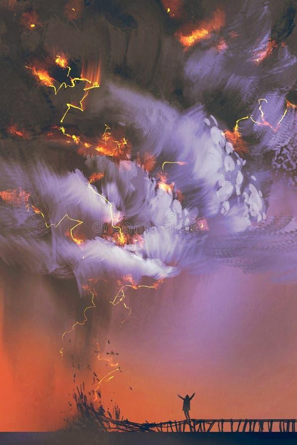Nuvole e temporale drammatici con un uomo che alza armi illustrazione di stock