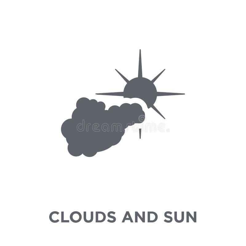 Nuvole ed icona del sole dalla raccolta del tempo illustrazione di stock