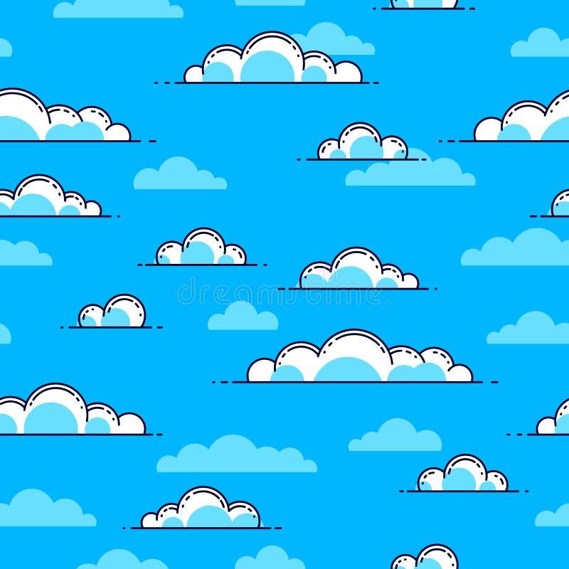 Nuvole fondo senza cuciture, tempo ed aria aperta, cielo del cloudscape illustrazione vettoriale