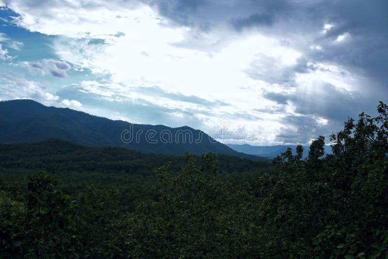 Nuvole Forest Background tropicale intelligente delle montagne del paesaggio immagine stock