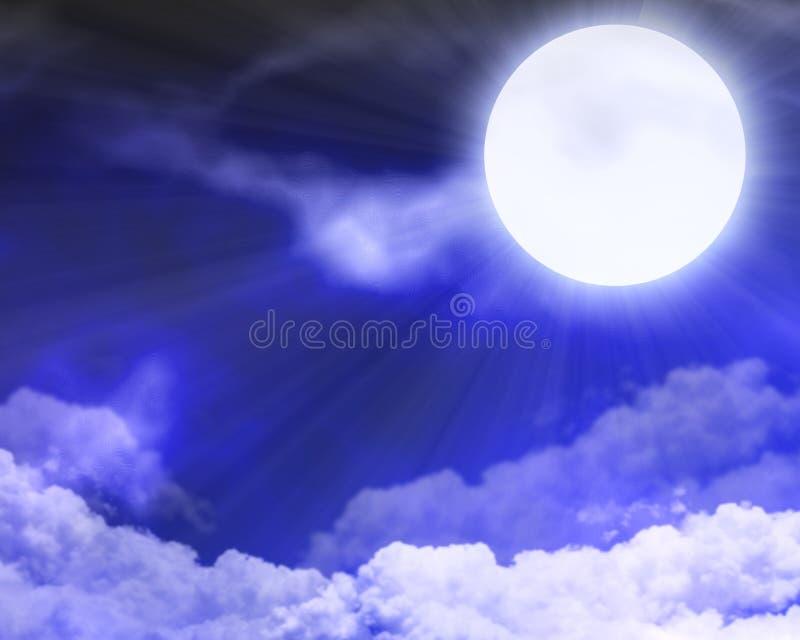 Nuvole illuminate dalla luna royalty illustrazione gratis