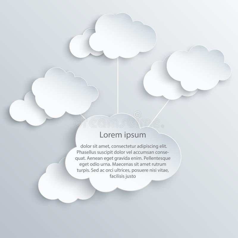 Nuvole lanuginose bianche di arte di carta per testo illustrazione vettoriale
