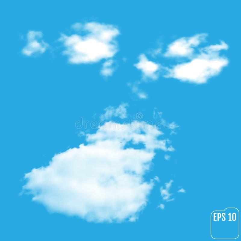 Nuvole leggere realistiche meravigliose su un fondo blu Vettore illustrazione di stock
