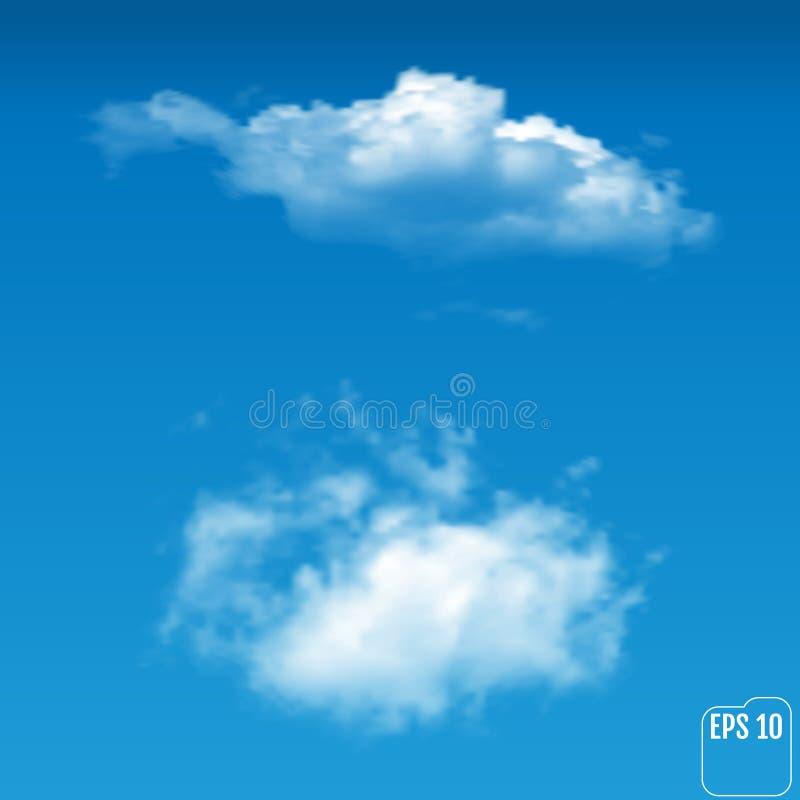 Nuvole leggere realistiche meravigliose su un fondo blu Vettore i illustrazione vettoriale