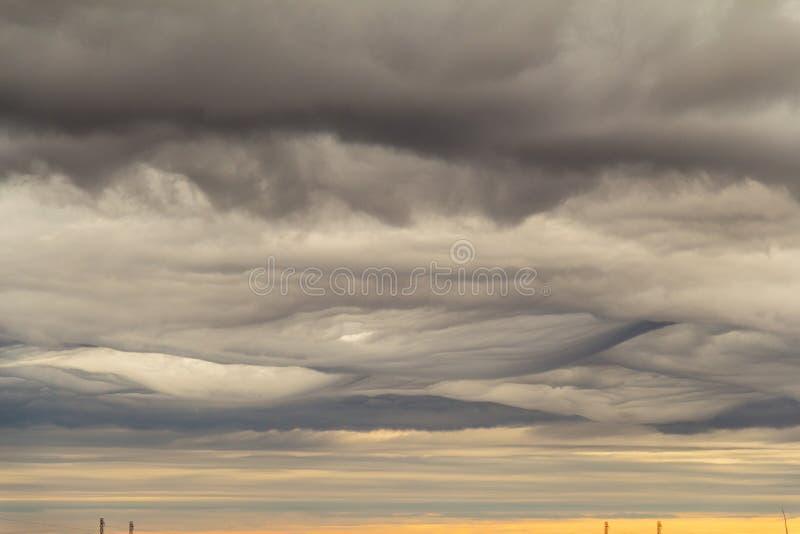 Nuvole mistiche come disegnato, Noril'sk fotografia stock libera da diritti