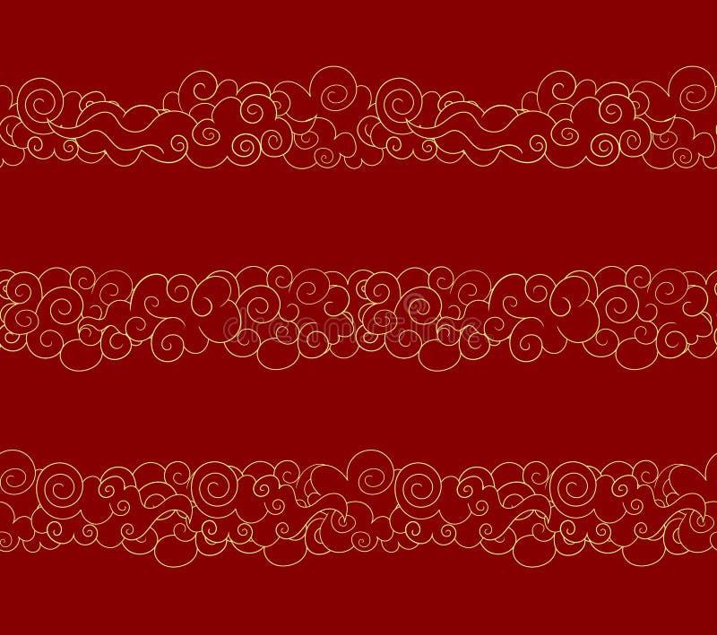 Nuvole orientali senza cuciture di vettore, linee dorate, insieme di elementi di progettazione di stile tradizionale illustrazione di stock