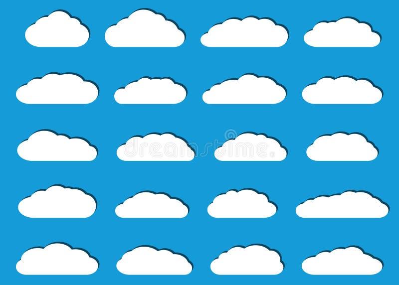 Download Nuvole Piane Bianche Con Le Ombre Illustrazione Vettoriale - Illustrazione di figura, clima: 117977847