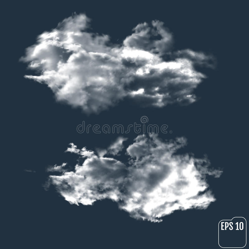 Nuvole realistiche contro lo sfondo del cielo notturno Vettore illustrazione vettoriale