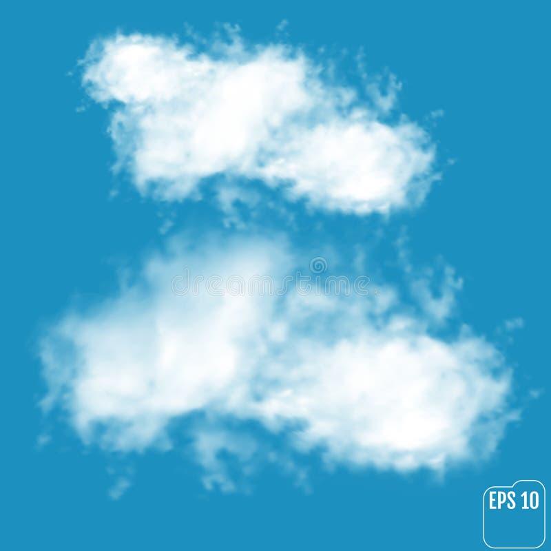 Nuvole realistiche meravigliose Vettore illustrazione di stock