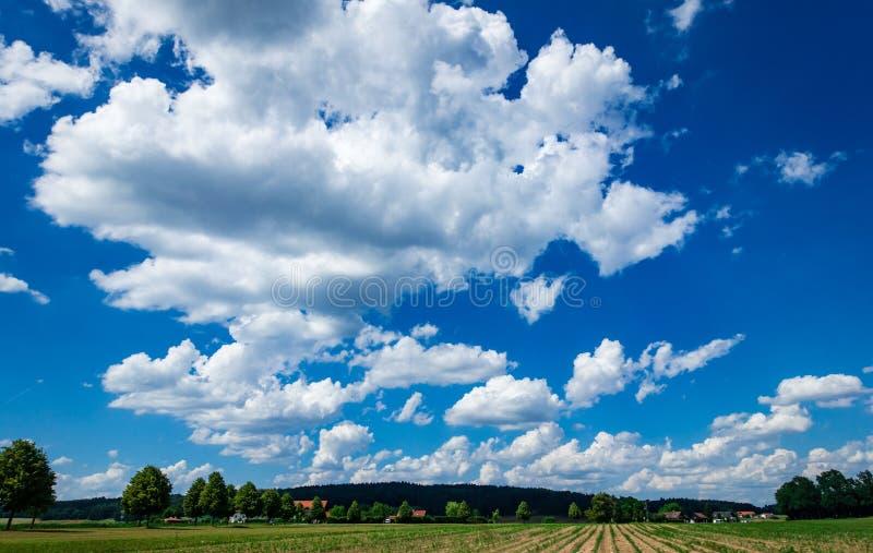 Nuvole sceniche drammatiche in un cielo blu intenso sopra il fondo verde del paesaggio fotografia stock