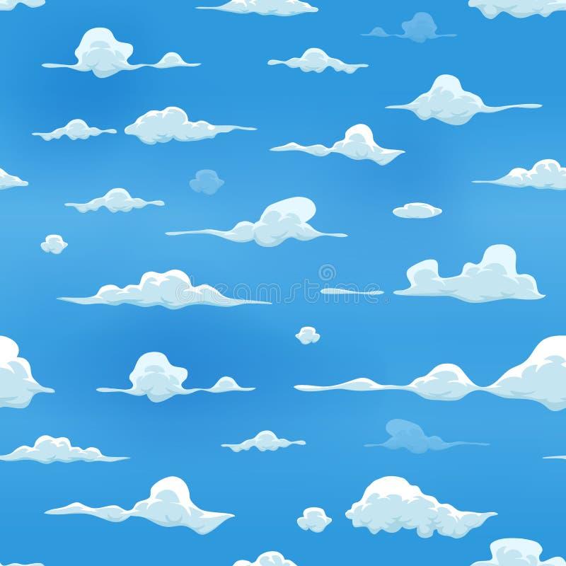 Nuvole senza cuciture sul fondo del cielo blu illustrazione vettoriale