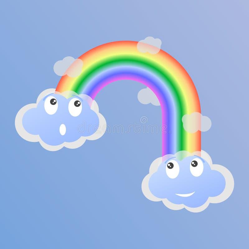 Nuvole sorprese ed allegre e un arcobaleno fra loro Illustrazione di vettore royalty illustrazione gratis