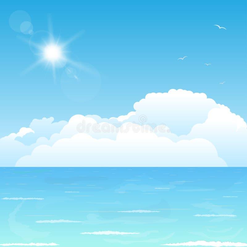 Nuvole sull'oceano royalty illustrazione gratis
