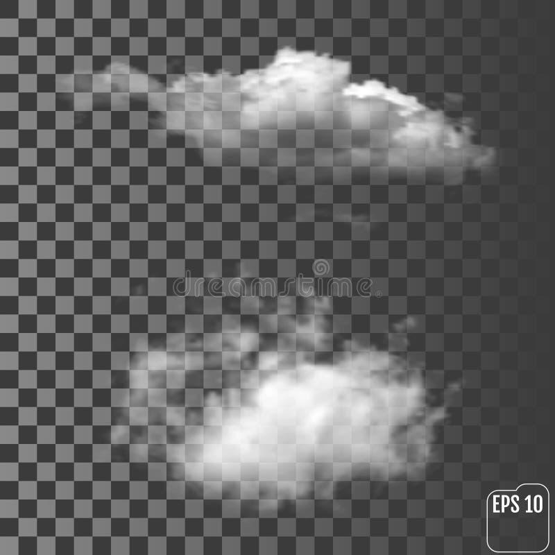 Nuvole temporalesche leggere realistiche meravigliose su un trasparente illustrazione di stock