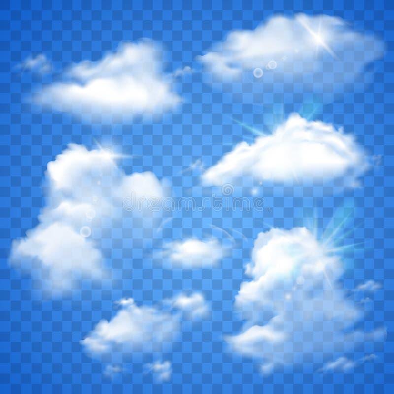 Nuvole trasparenti sul blu illustrazione vettoriale