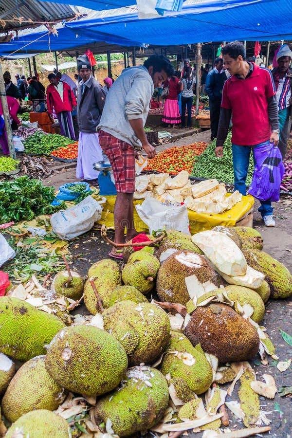 NUWARA ELIYA, SRI LANKA - 17. JULI 2016: Jackfruitverkäufer am Warenmarkt in Schleppseil Nuwara Eliya lizenzfreie stockbilder