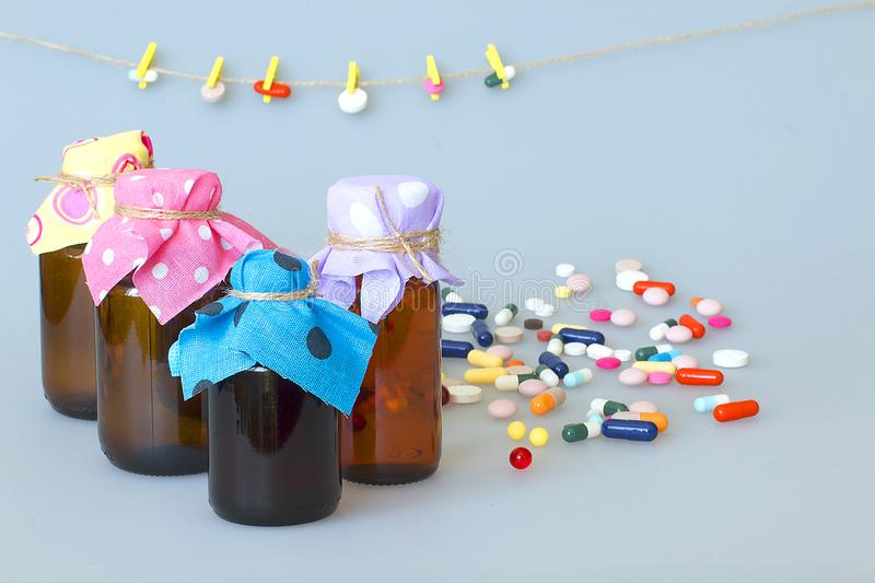 Various dosage forms of capsules, tablets, dragees for the treatment of human diseases. Nvarious dosage forms of capsules, tablets, pills for the treatment of stock photo