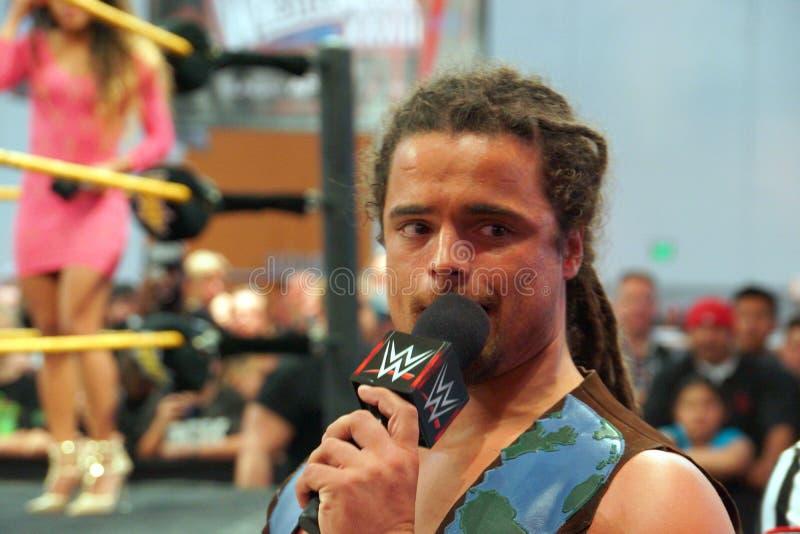 NXT atracam-se negociações de CJ Parker no mic fora do anel para aglomerar-se imagem de stock royalty free