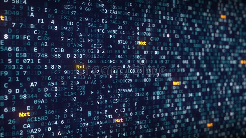 Nxt captions appearing among changing hexadecimal symbols on a computer screen. 3D rendering. Nxt captions appearing among changing hexadecimal symbols royalty free illustration