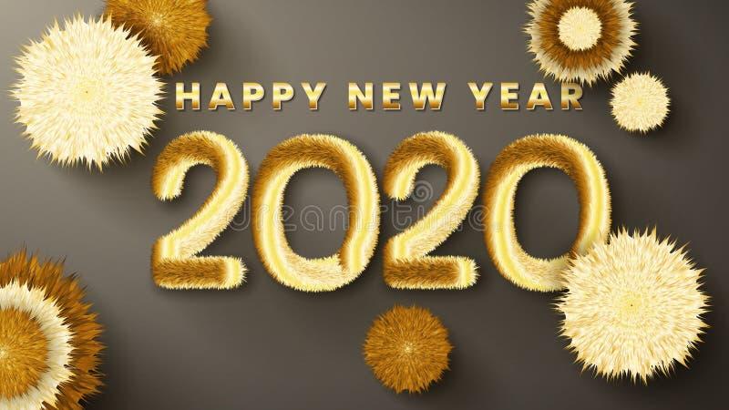 Nyår 2020-hälsningskort med furry-nummer i övertoningsbakgrunden Nyårsbakgrund för säsongssemestrar vektor illustrationer