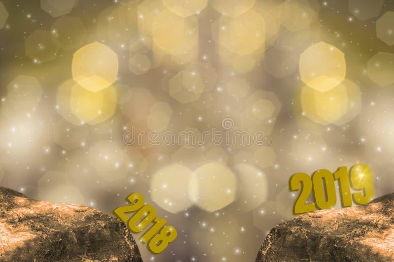 Nyårsafton 2018 och starta ljusstyrkatemat 2019 av det guld- lyckliga nya året med mousserande guld- ljus bokeh och att blänka royaltyfri illustrationer